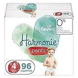 Pampers Couches-Culottes Harmonie Pants Taille 4 (9-15kg) 0% de compromis, 100% d'absorption, Ingrédients d'Origine Végétale, Faciles à Changer, 96 Couches-Culottes (Lot de 4x24)