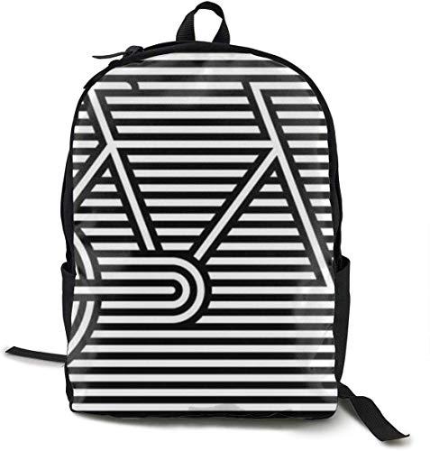 Casual Daypack Big Capacity Multipurpose Anti-Theft Shoulder Bag Rucksack for Trekking Travel Running - Bike Bicycle Black White Sripes, Boys Girls Gift, Travel Sport Rucksack