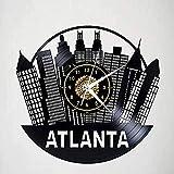 hxjie Horloge Murale en Vinyle Atlanta Géorgie Aquarium rétro atmosphère Silhouette Record Fait à la Main décor à la Maison 12 Pouces