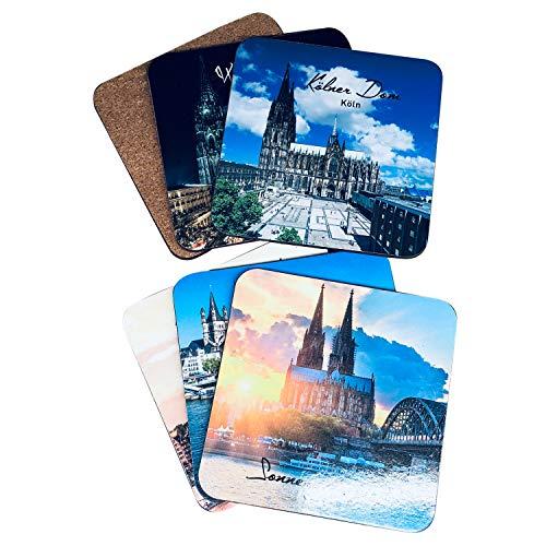 I LOVE KÖLN Untersetzer für Gläser, Glasuntersetzer aus Kork, Unterlage Bierdeckel, eckig mit 6 schönen Köln Ansichten