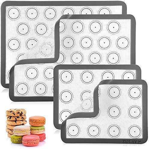 Zulay (Set of 4) Silicone Baking Mat - Macaron Silicone Baking Mats With Pre-printed Template Design - Non Stick & Reusable Silicone Baking Sheet - 2 Half Size + 2 Quarter Size (Gray)
