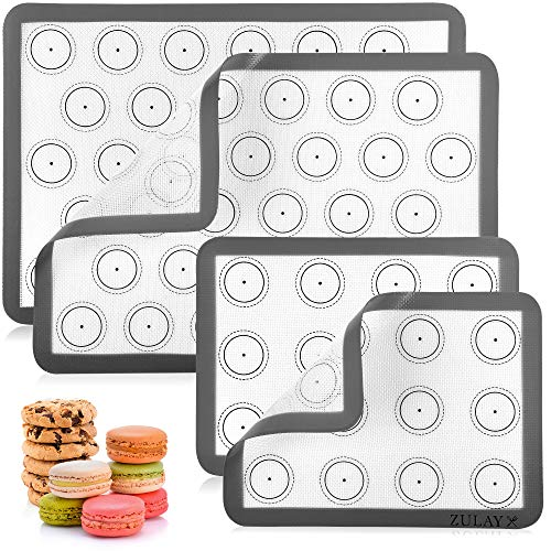 Zulay (Set of 4) Silicone Baking Mat - Macaron Silicone Baking Mats With Pre-printed Template Design - Non Stick & Reusable Silicone Baking Sheet - 2 Half Size + 2 Quarter Size (Assorted)