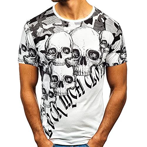 Manga Corta Hombre Moderna Básica Cuello Redondo Ajuste Regular Hombre Camiseta Verano Personalidad Fresca Calavera/Camuflaje Estampado Hombre Shirt Casual Transpirable Shirt