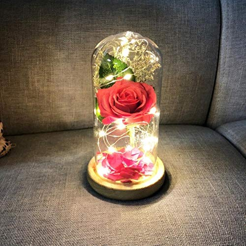 Belle en het beest Rode roos in een glazen koepel met LED-licht en voet voor Valentijnsdaggeschenken Gratis schip, 029A, Italië