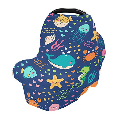 YYZZH Colorful Sea Life Whale Turtle Seahorse Jellyfish Fish Crab Stretchy Baby Car Seat Cover Infant Canopy Nursing Covers Breastfeeding Cover Breathable Windproof Winter Scarf for Boys Girls