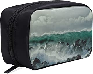 Water Wall Like A Tsunami Dangerous Reef Portable Travel Makeup Cosmetic Bags Organizer Multifunction Case Small Toiletry Bags For Women And Men Brushes Case