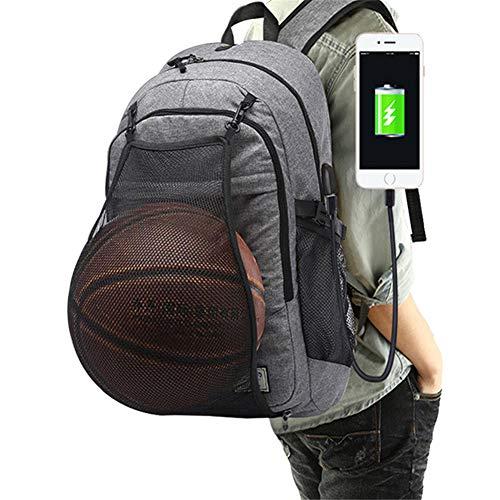 Multifunctionele basketbalrugzak met USB-aansluiting en hoofdtelefoonaansluiting, 15,6 inch laptopvak, ideaal voor voetbal, school en reizen.