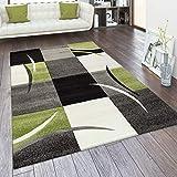Alfombra Salón Tamaños Motivo Cuadros Rayas Diseño 3D Pelo Corto, tamaño:60x110 cm, Color:Verde
