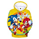 Cheerful D Sonic-Hedgehog Unisex Hoodie 3D Printed Hooded Pullover Sweatshirt for Men Women Boys Girls