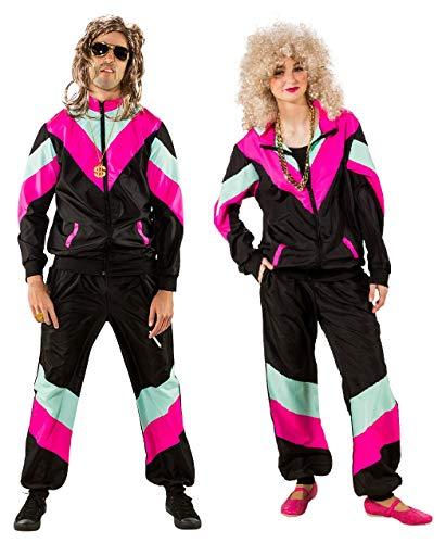 narrenkiste O9461-52-56 schwarz-pink Damen Herren 80er Jahre Jogginganzug Sportanzug Gr.52-56