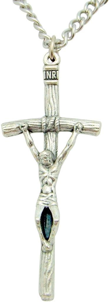 Papal Cross Crucifix Metal Pendant Italian Gift 1 3/4 Inch with Chain