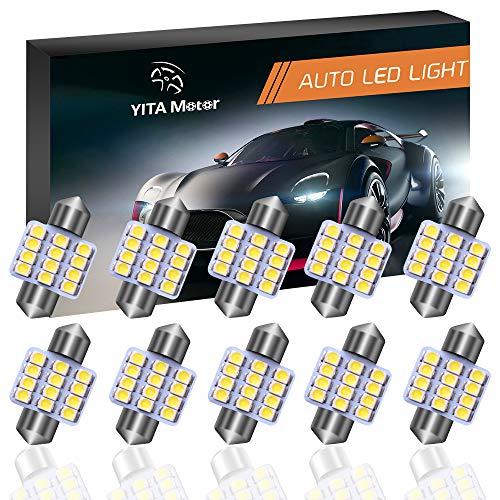 YITAMOTOR 31mm Festoon LED Bulbs Super Bright White LED Interior Car Lights Error Free CANBUS 12-SMD 3528 Chipsets, DE3175 LED Bulb, DE3022 LED, 3021 LED Bulbs - Pack of 10
