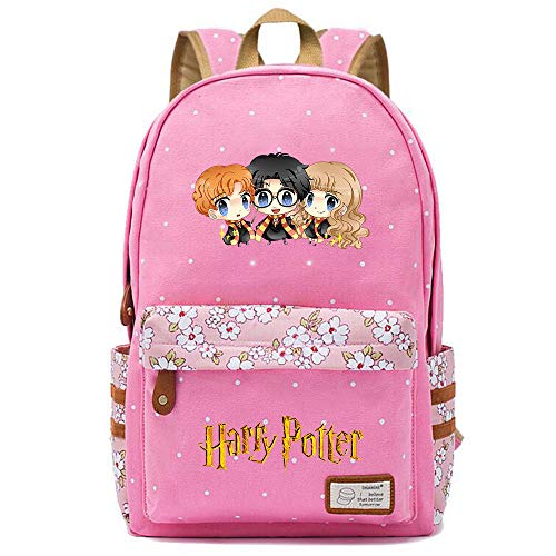 NYLY Mochila Avatar de Harry Potter,Joven Estudiante Bolsa para la Escuela, niña Flores Backpack Bolsa para portátil Unisexo (Estilo A) L Rosa