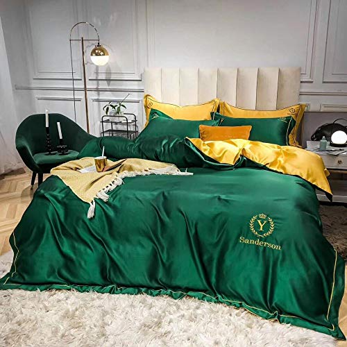 geek cook 4-Piece Bed Set,Simple embroidery bedding ab face double fight quilt cover washed silk three or four sets of solid color naked sleeping sheets-green_1.2m (4 feet) bed