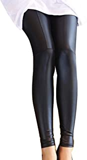 Guiran Women High Waist Elasticity Faux Leather Leggings Skinny Ankle Pants Trousers