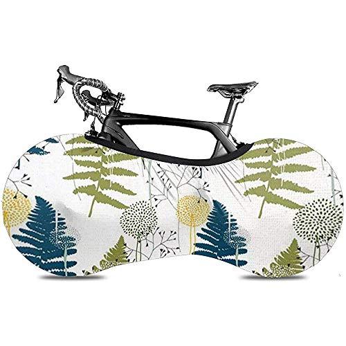 L.BAN Sweet-Heart Fahrrad Radabdeckung, Protect Gear Reifen - Botanical Mit Blumenfarn Blätter Löwenzahn Dahlien Und Gräser Zeichnung Exotisch