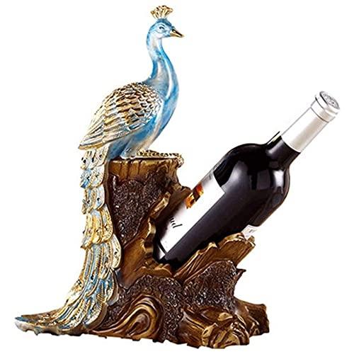 Rvlaugoaa Pavone Portabottiglie Portabottiglie Decorazione Ornamento Casa Soggiorno Cucina Sala Da Pranzo Bar Tavolo Bottiglia Singola Portabottiglie Resina Scultura Animale Statua