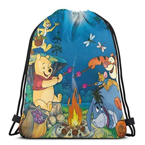 XCNGG Bolsa con cordón Bolsa con cordón Bolsa portátil Bolsa de Gimnasio Bolsa de Compras Classic Drawstring Bag-Winnie The Pooh Picnic Gym Backpack Shoulder Bags Sport Storage Bag for Man Women