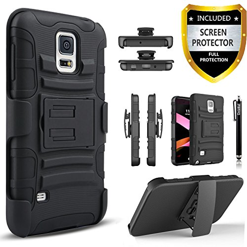 Galaxy S5 Case, Samsung Galaxy S5 Case, Dual Layers [Combo Holster] Case And Built-In Kickstand Bundled with [Premium Screen Protector] Hybird Shockproof And Circlemalls Stylus Pen[Black]