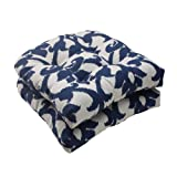 Pillow Perfect Outdoor/Indoor Basalto Navy Tufted Seat Cushions (Round Back), 19' x 19', Blue, 2 Count