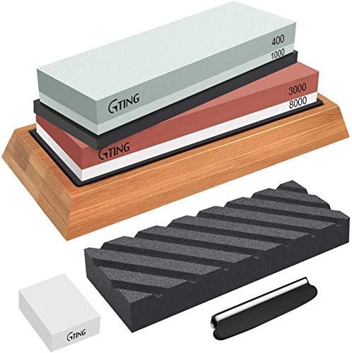 Whetstone Knife Sharpening Stone Set,G-TING 400/1000 and 3000/8000 Grit Whetstone Sharpener,Flattening Stone,Polishing Tool for Kitchen Knives,Pocket Knives,Blade,Hunting