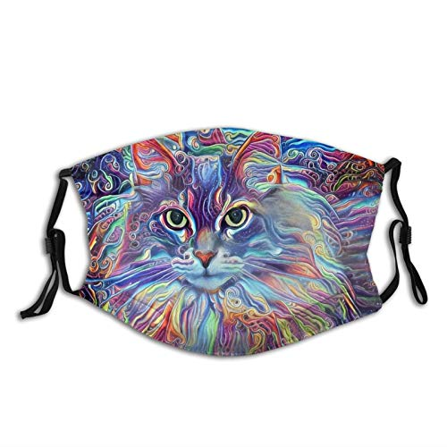 Colorful Cat Face Mask Comfortable Balaclavas, Animal Cat Face Mask, Breathable-Muffle With Filter
