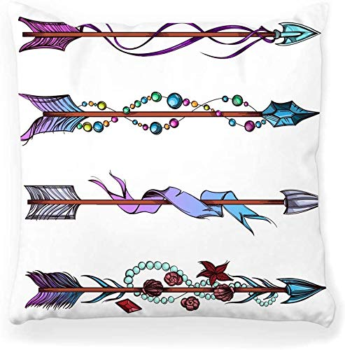 Decorative Throw Pillow Cover Square 16x16 Set Decorative Element Isolated White American Ancient Archery Arrow Aztec Beads Bohemian Collection Home Decor Zippered Pillowcase