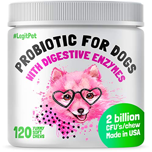 LEGITPET Probiotics for Dogs with Natural Digestive Enzymes + Prebiotics for Allergy & Itch Relief + Coprophagia Treatment & Anti Diarrhea for Dogs