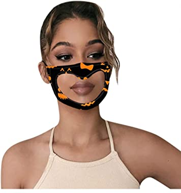 Huilaibazo Adult Halloween Face Protection Bandana with Clear Window Visible Expression for The Deaf and Hard of Hearing Disa