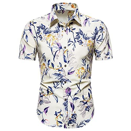 Ocuhiger Camisas Informales De Manga Corta Estampadas para Hombres Camisa De Vacaciones En La Playa Hawaiana Camisa Ajustada Estándar con Botones Y Solapa Blusa Blanca