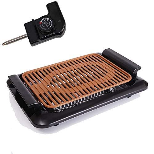 AWJ Parrilla de Estilo Coreano para Barbacoa eléctrica sin Humo Plancha para Interiores eléctrica, Red Antiadherente, Control de Calor Ajustable, extraíble Lavable, Dorado