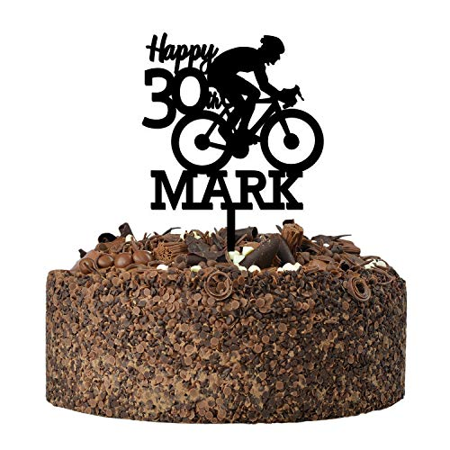 Bicycle Cake Topper - Cycling Birthday Cake Decoration - PERSONALISED Mountain Bike Cake Toppers for Him, Son, Boys, Dad, Grandad, Kids - Gold Silver Black Blue Red Wood Cake Decoration