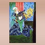 COLOROPA Cuadros Pintados a Mano sobre Lienzo Matisse Naturaleza Muerta Pintura al Óleo 60X90 cm Enrollada - Calas Y Iris Y Los Mimosas