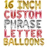 Letter Balloons - Custom Phrase 16' Inch Alphabet Letters & Numbers Foil Mylar Balloon | Create Your Banner