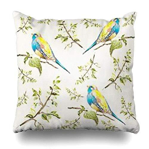 Klotr Housses De Coussins Pattern Birds Vintage Romantic Design Branches Color Bird Pillowcase Square Size 18 X 18 inches Home Decor Cushion Cases