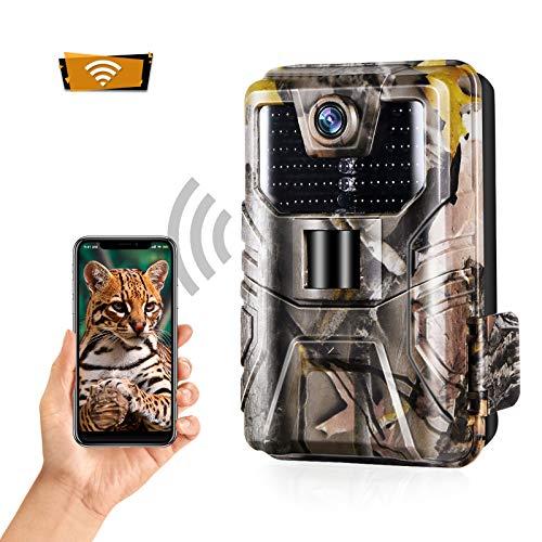 SUNTEKCAM Bluetooth Wildkamera 24MP 1296P WiFi, WLAN mit Bewegungsmelder Nachtsicht Wildlife Jagdkamera, Wildtierkamera mit Nachtsichtbewegung Wasserdicht IP66 Outdoor-Kamera