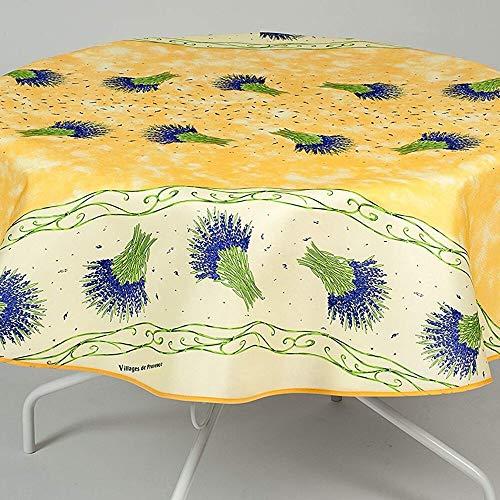 Nappe Antitache Ronde - Infroissable et 100% Polyester - Ø 160 cm - 4/6 couverts - Bouquet de Lavande - Jaune - Intérieur ou Extérieur