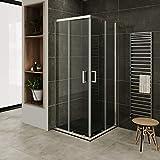 MOG Mampara de Ducha con plato de ducha 80x80 cm altura: 190 cm con puertas correderas de esquina 6mm Vidrio transparente de...