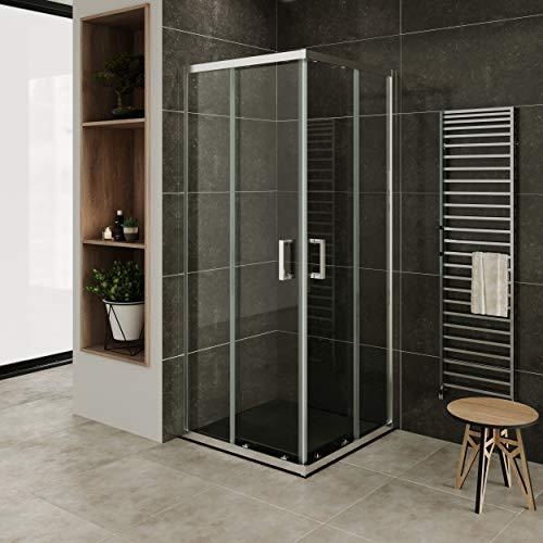 MOG Mampara de Ducha 85x85 cm altura: 190 cm con puertas correderas de esquina 6mm Vidrio transparente de seguridad – DK77