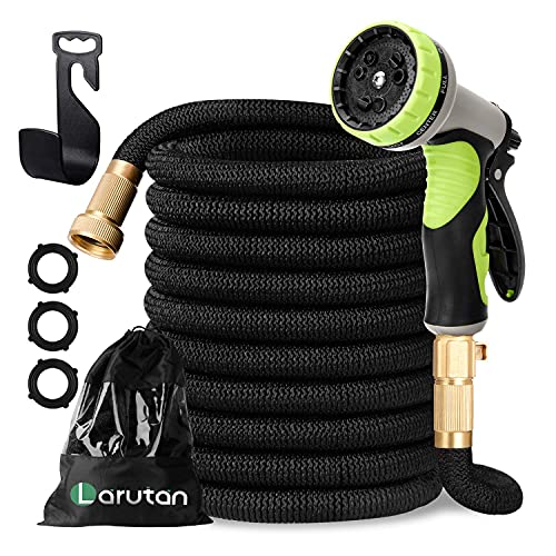 LARUTAN Garden Hose-100ft Expandable Water Hose with 9 Function Nozzle-Strongest Triple Core Latex -3/4' Solid Brass Fittings-Lightweight No-Kink Flexible Hose-Superior Strength 3750D Water Pipe