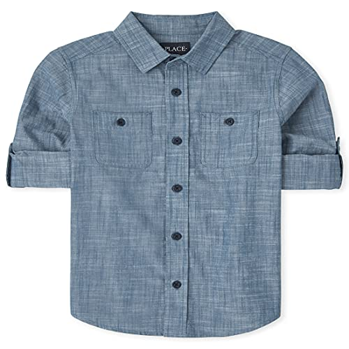 The Children's Place Boys' Chambray Button Down Shirt, Seascape, S (5/6)