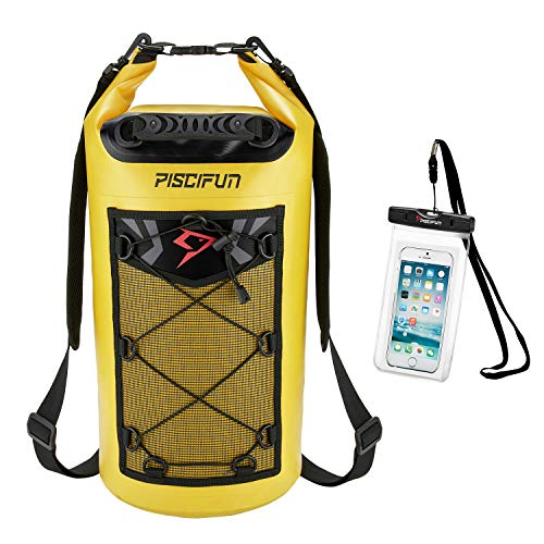 Piscifun Waterproof Dry Bag Backpack 10L Floating Dry Backpack with Waterproof Phone Case for Water Sports - Fishing Boating Kayaking Surfing Rafting Camping Gifts for Men and Women Yellow