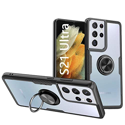 KONEE Funda Compatible con Samsung Galaxy S21 Ultra 5G,【Transparente Anti-Rasguños】【360° Giratorio Anilla Posterior】【Compatible con Soporte de Montaje Magnético del Coche】Carcasa para Galaxy S21 Ultra