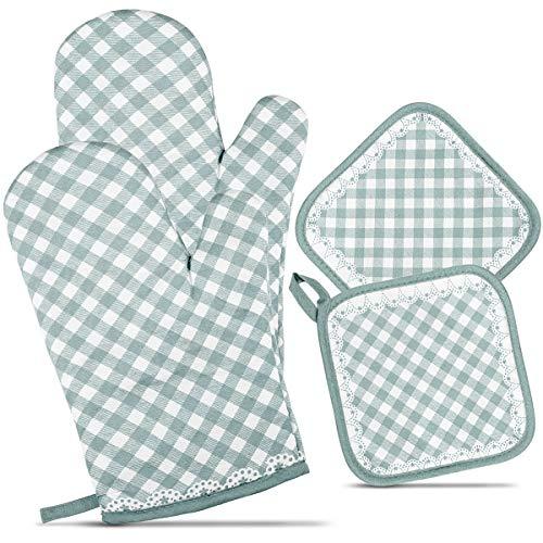 ZORR Ofenhandschuhe Topfhandschuhe Hitzebeständig, Ofenhandschuhe und 2 Topflappen Set, Backhandschuhe für Kochen & Backen (Blau)