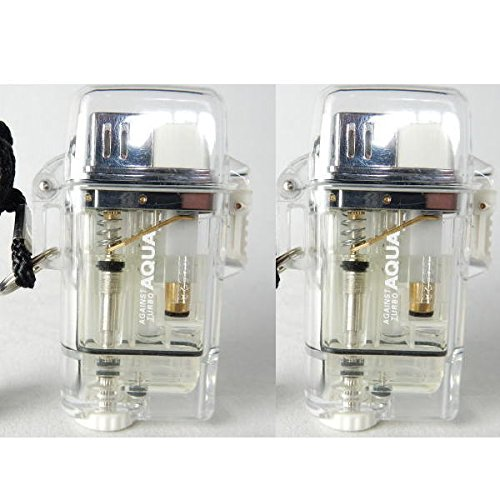 【お得な2本セット】ツインライト AQUA TURBO LIGHTER ターボライター AGAINST TURBO 風・水に強い (クリア2本)