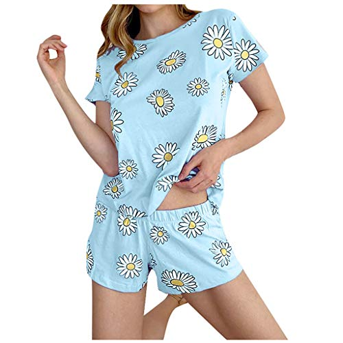 Janly Clearance Sale Pijama para mujer, para verano, para mujer, niña, de manga corta, pantalones cortos para uso en el hogar, pijama (azul/2XL)