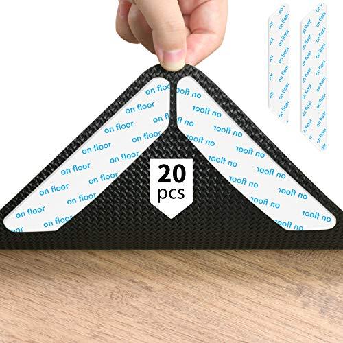 KATELUO Teppichgreifer Antirutschmatte,20 Stück Antirutschmatte für Teppich,Doppelseitig teppichgreifer antirutsch, 180mm*30mm, Kann gewaschen und wiederverwendet Werden Antirutschmatte. (Weiß)