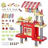 HOMCOM Cuisine pour Enfant Jeu d'imitation de la marchande 2 en 1 - 50 Accessoires Inclus Effets sonores Rouge