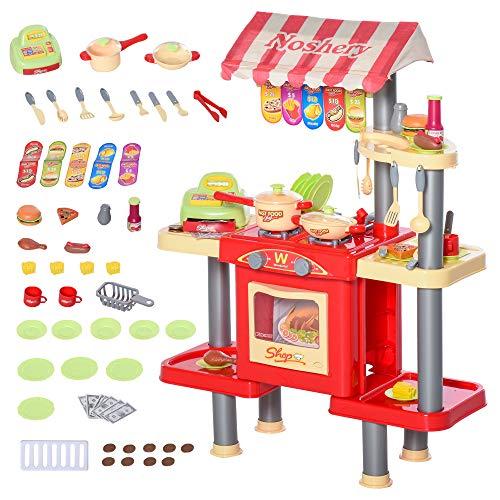 homcom Cucina Giocattolo per Bambini 3-6 Anni con 50 Accessori e Cassa Giocattolo, 69x33x88cm Rosso e Giallo