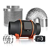Spider Farmer 6 Inch Carbon Filter for Grow Tent Kit, 350 CFM Inline Duct Fan with Speed Controller, 33 Feet Ducting Grow Tent Ventilation System for Grow Tents Hydroponics
